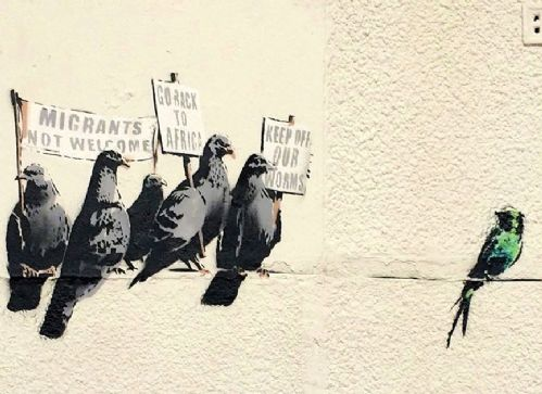 BANKSY - MIGRANT BIRDS canvas print - self adhesive poster - photo print